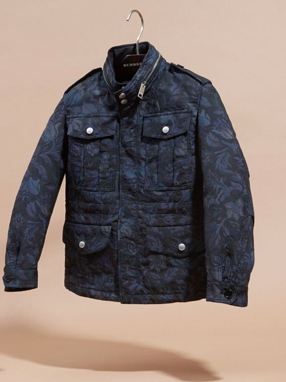 Navy Floral Jacquard Field Jacket with Packaway Hood - cell image 2