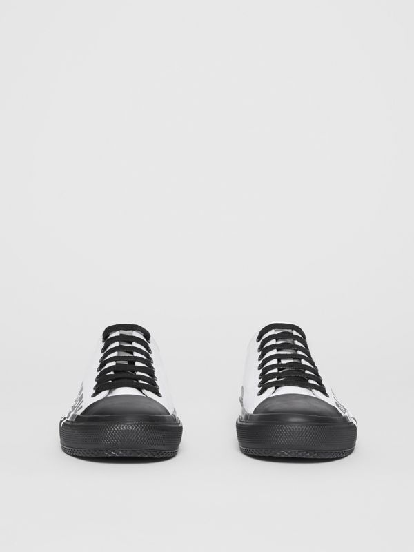 Logo Print Two-tone Cotton Gabardine Sneakers in Optic White/black - Women | Burberry - cell image 3