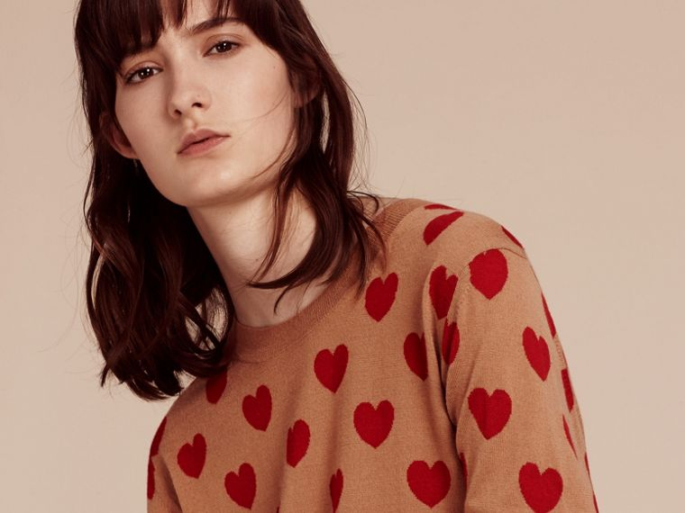 Heart Intarsia Merino Wool Sweater in Camel - Women | Burberry - cell image 4