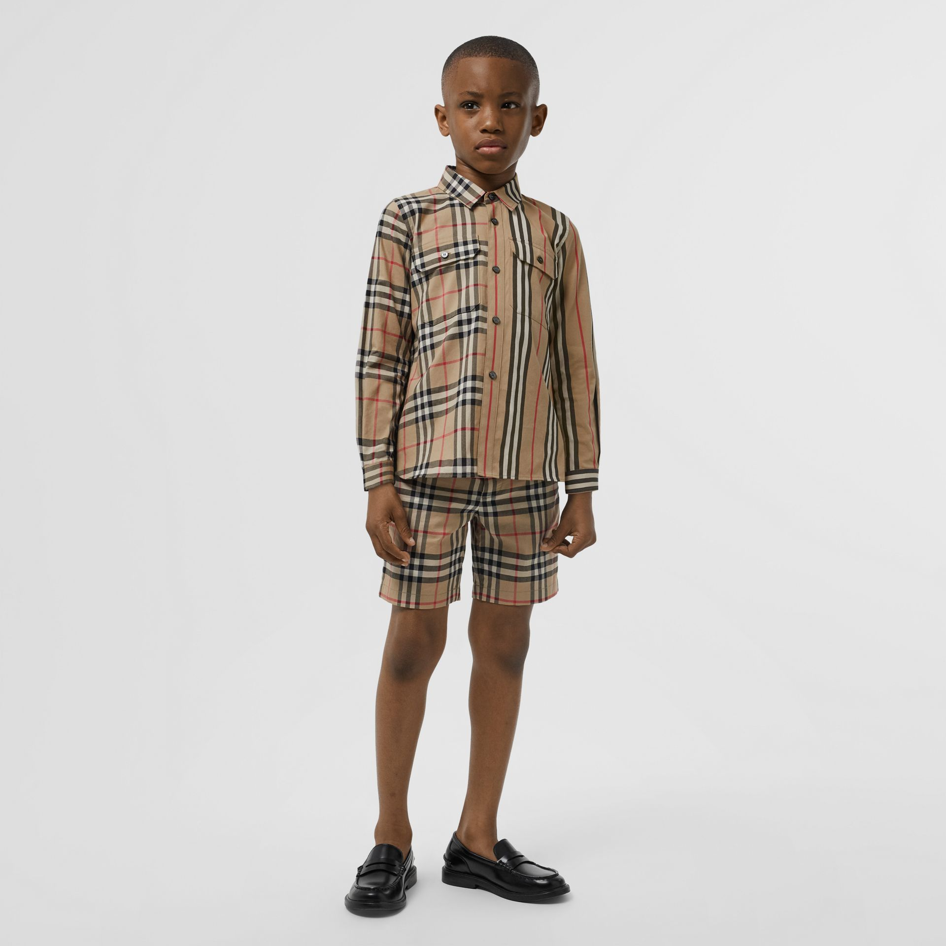 Vintage Check Cotton Poplin Shirt in Archive Beige - Boy | Burberry - gallery image 2