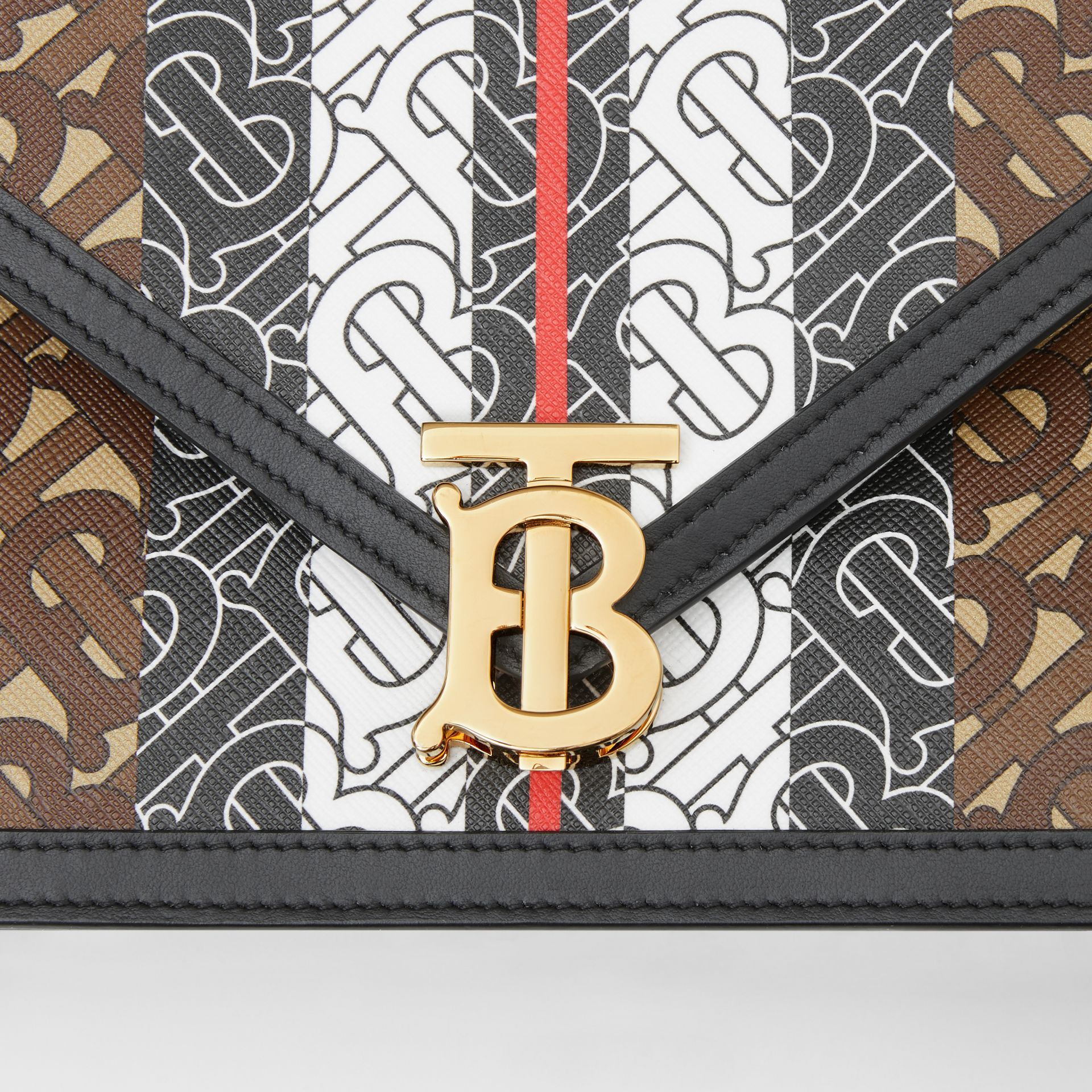Small Monogram Stripe E-canvas TB Envelope Clutch in Bridle Brown - Women | Burberry - gallery image 1