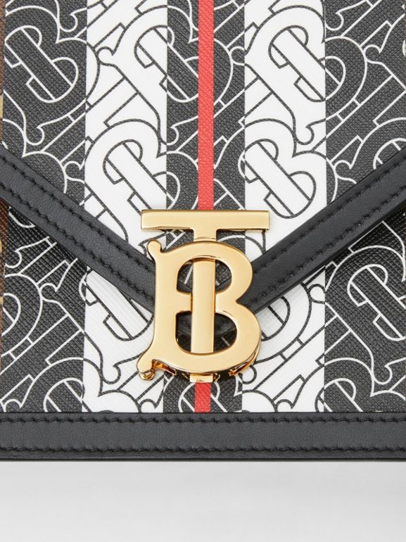 Small Monogram Stripe E-canvas TB Envelope Clutch in Bridle Brown - Women | Burberry - cell image 1