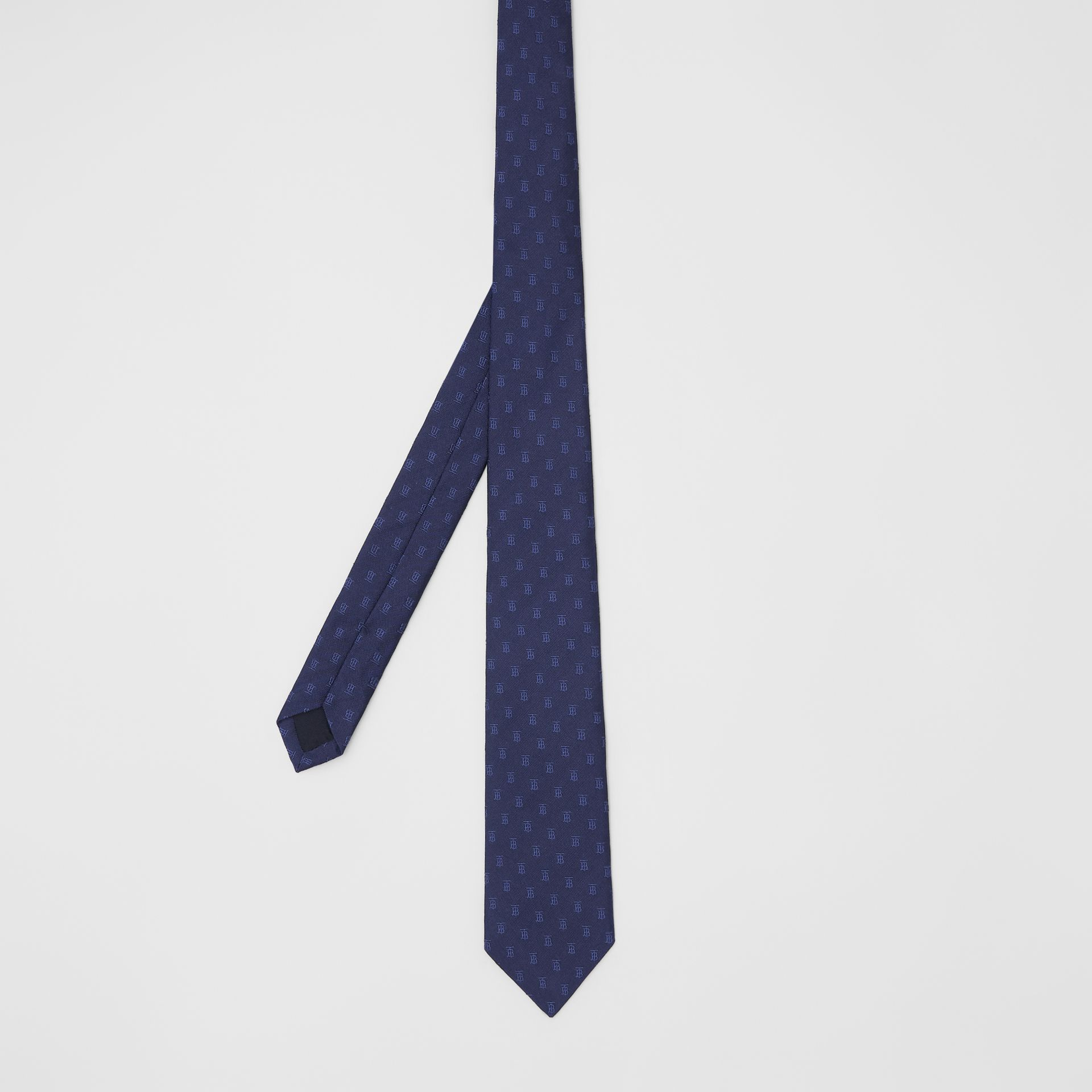Classic Cut Monogram Motif Silk Jacquard Tie in Navy - Men | Burberry - gallery image 4