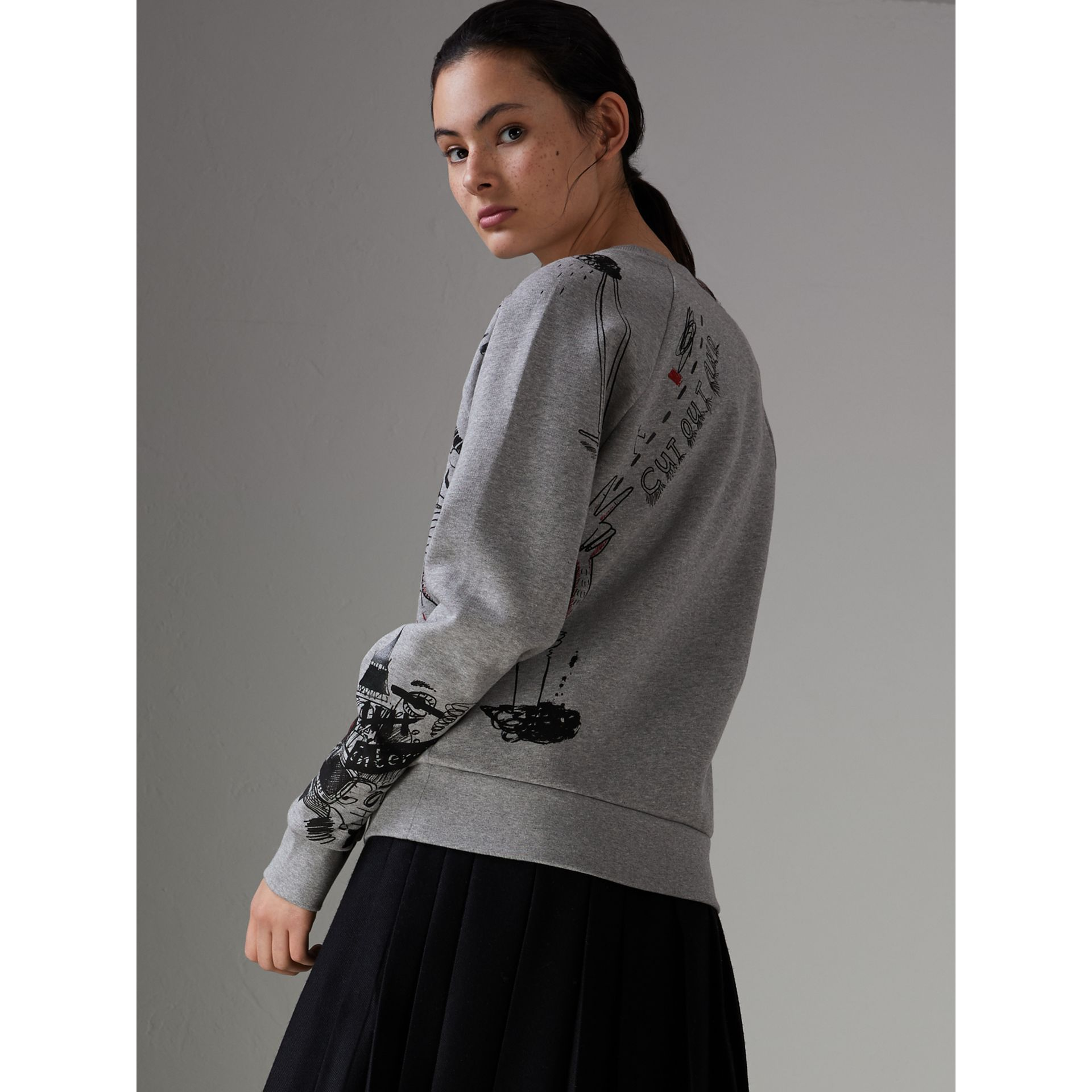 Sketch Print Jersey Sweatshirt in Pale Grey Melange - Women | Burberry United States - gallery image 2