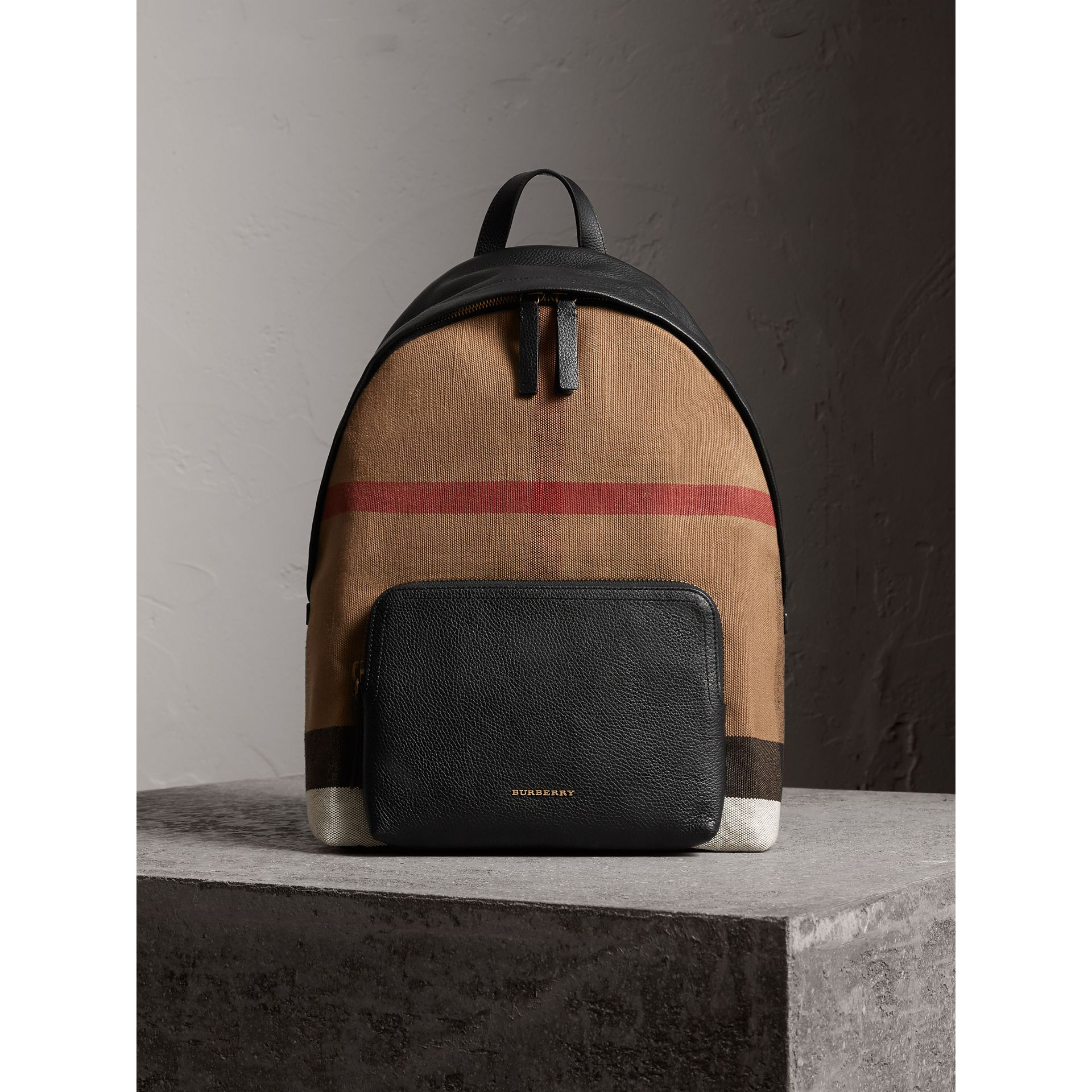 Canvas Check and Leather Backpack in Black - Men | Burberry - gallery image 1