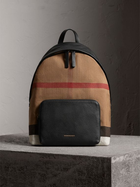 Canvas Check and Leather Backpack - Men | Burberry