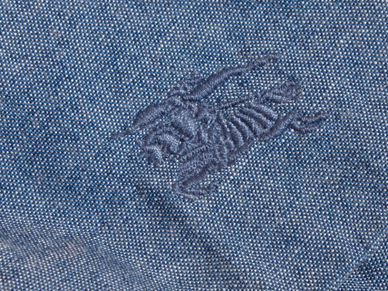 Ruffle Detail Cotton Chambray Top | Burberry - cell image 1