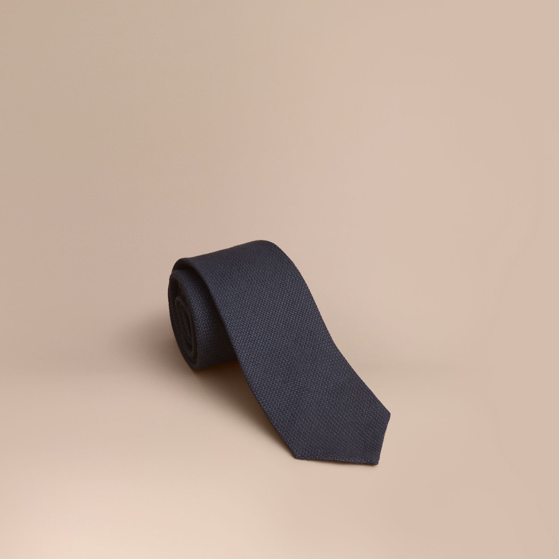 Modern Cut Linen Tie in Navy - Men | Burberry - gallery image 1