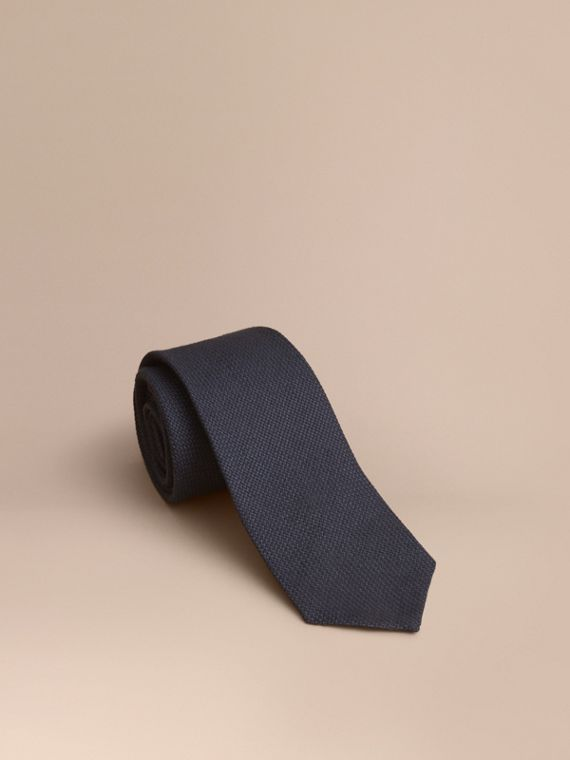 Modern Cut Linen Tie in Navy