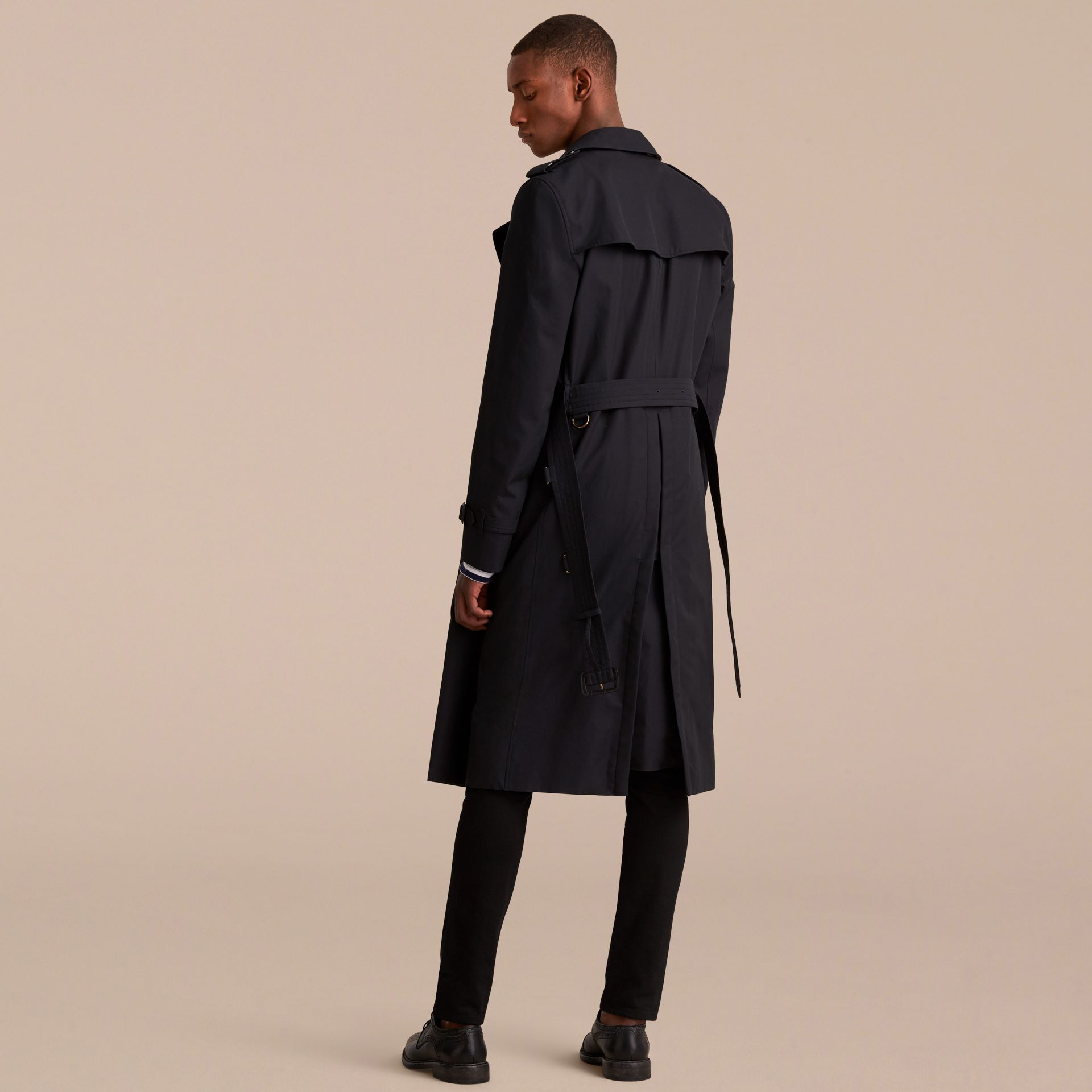 Extra-long Resin Button Cotton Gabardine Trench Coat in Navy - Men | Burberry - gallery image 3