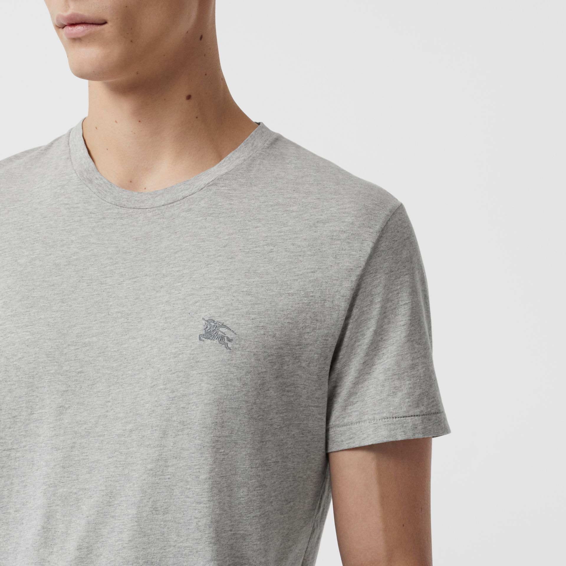 Cotton Jersey T-shirt in Pale Grey Melange - Men | Burberry Singapore - gallery image 1