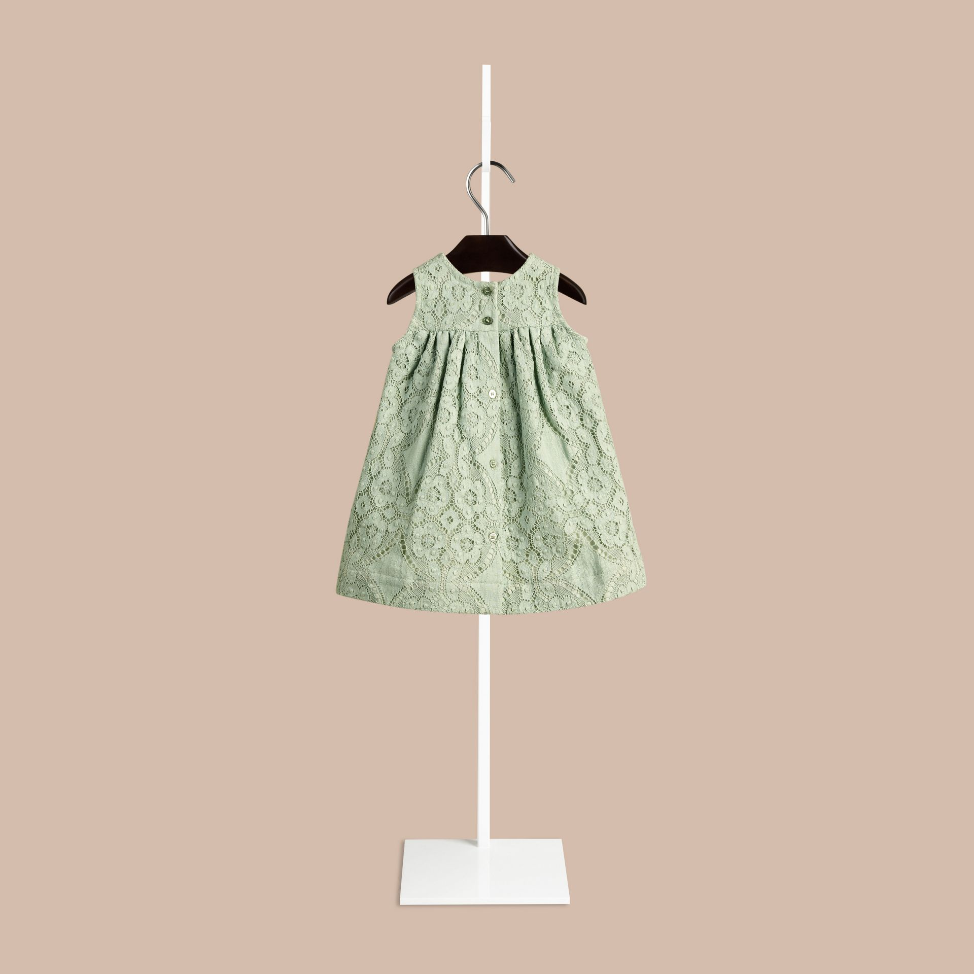 Pastel green English Lace A-line Sleeveless Dress Pastel Green - gallery image 2