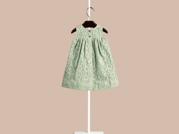 Pastel green English Lace A-line Sleeveless Dress Pastel Green - cell image 1