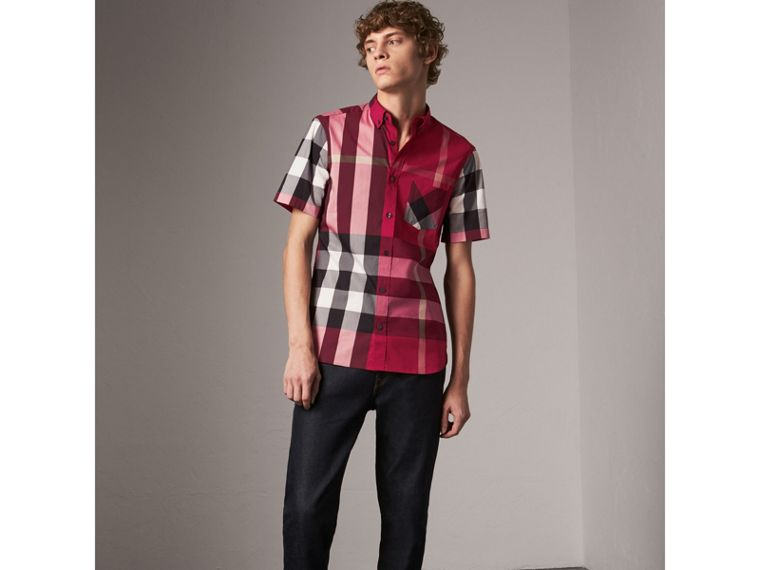 Short-sleeve Check Stretch Cotton Blend Shirt in Parade Red - Men | Burberry - cell image 4