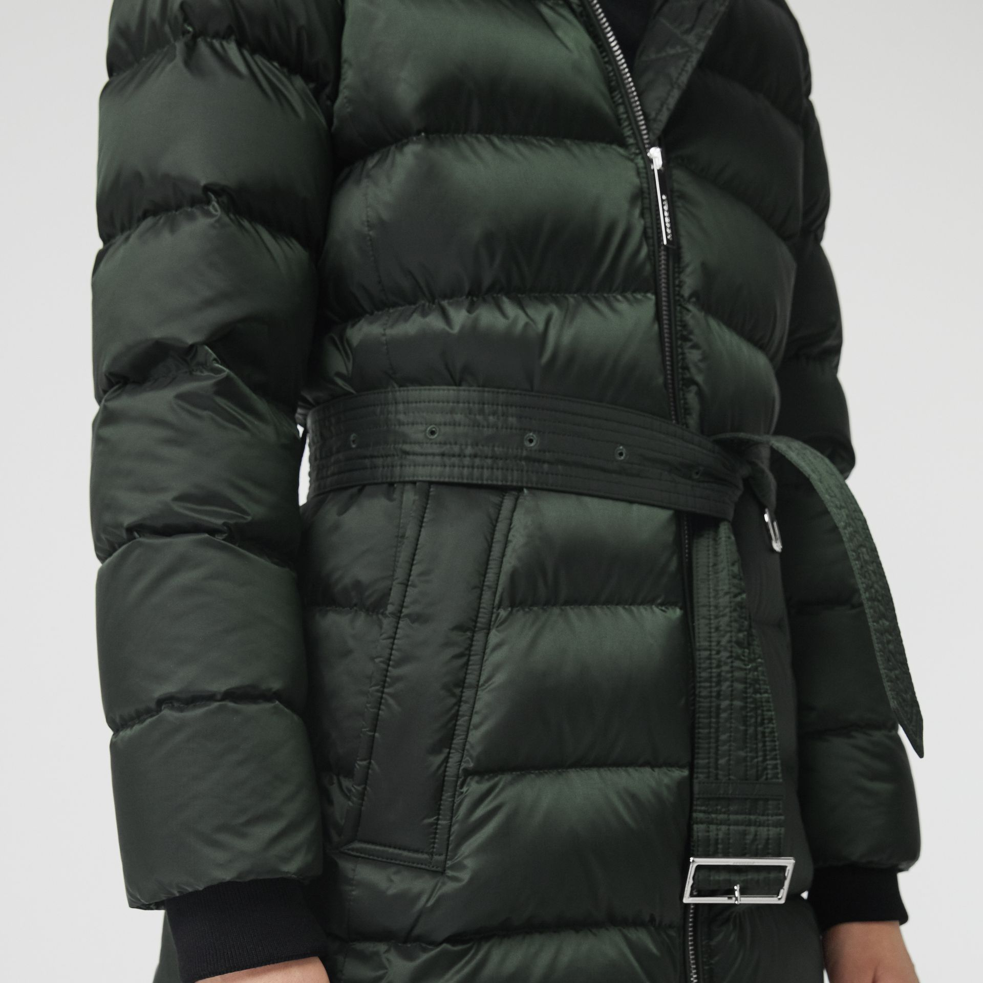 Down-filled Hooded Puffer Coat in Dark Racing Green - Women | Burberry - gallery image 4
