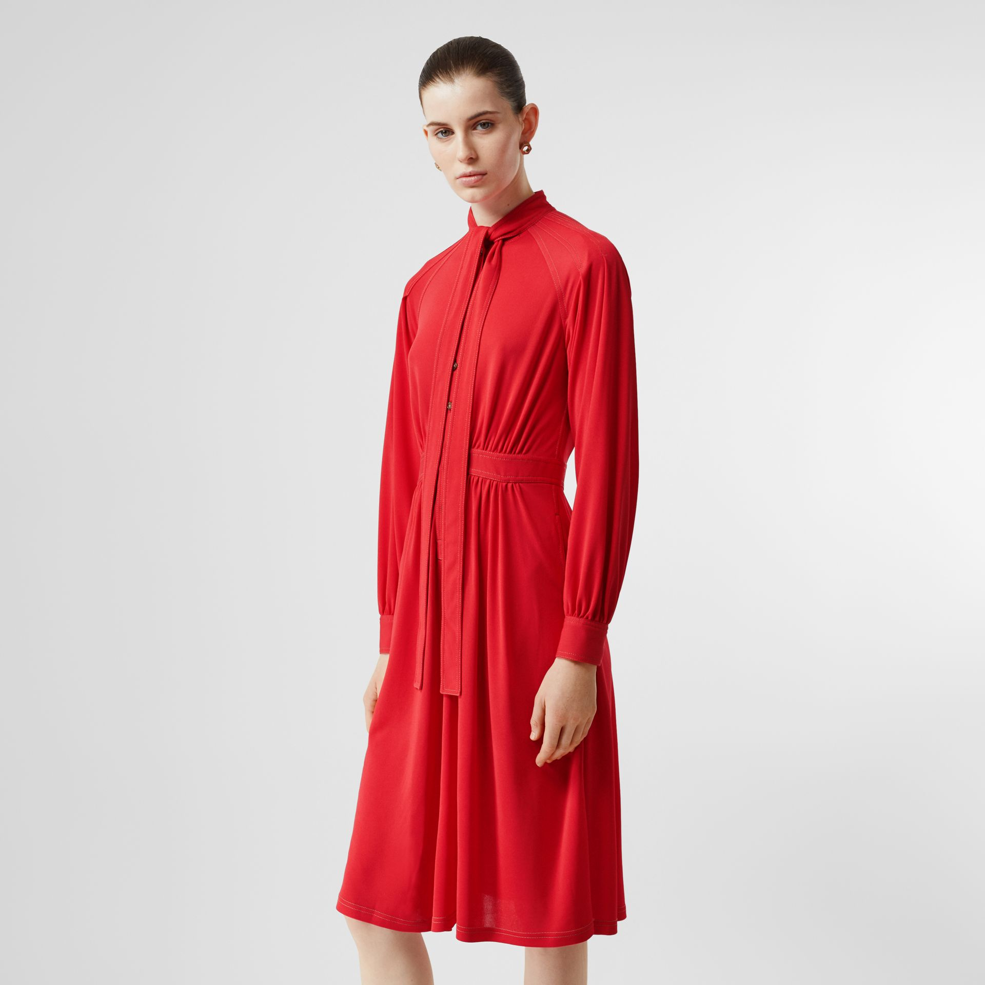 Topstitch Detail Jersey Tie-neck Dress in Bright Red - Women | Burberry - gallery image 5