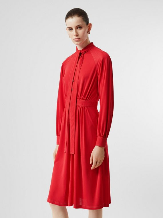 Topstitch Detail Jersey Tie-neck Dress in Bright Red