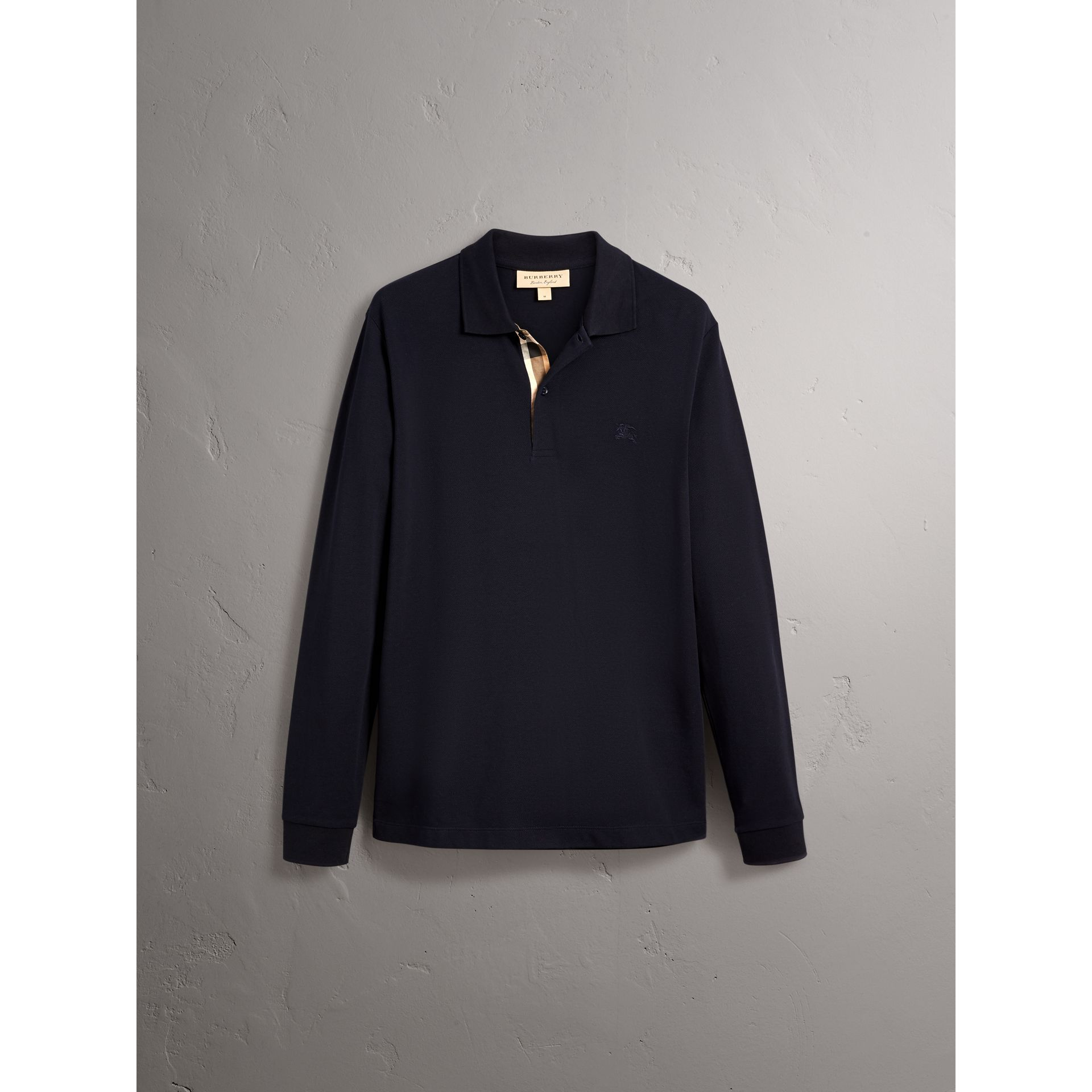 Check Placket Long Sleeve Polo Shirt in Dark Navy - Men | Burberry - gallery image 4