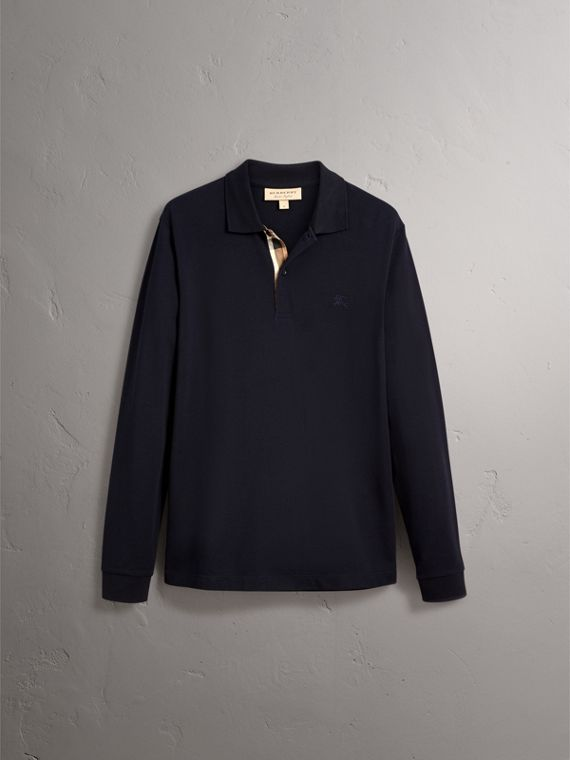 Check Placket Long Sleeve Polo Shirt in Dark Navy