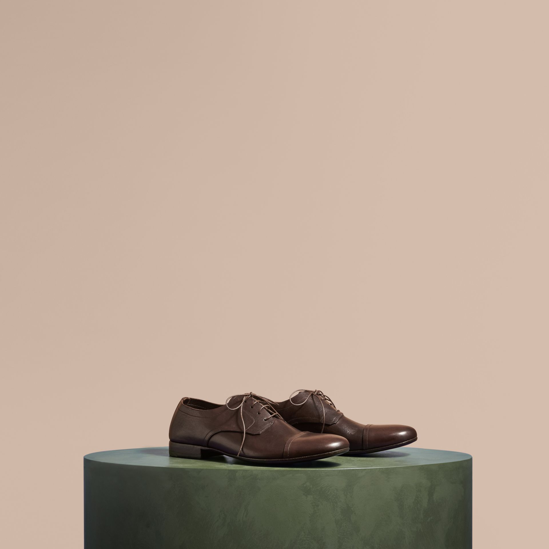 Ebony Washed Leather Derby Shoes - gallery image 1