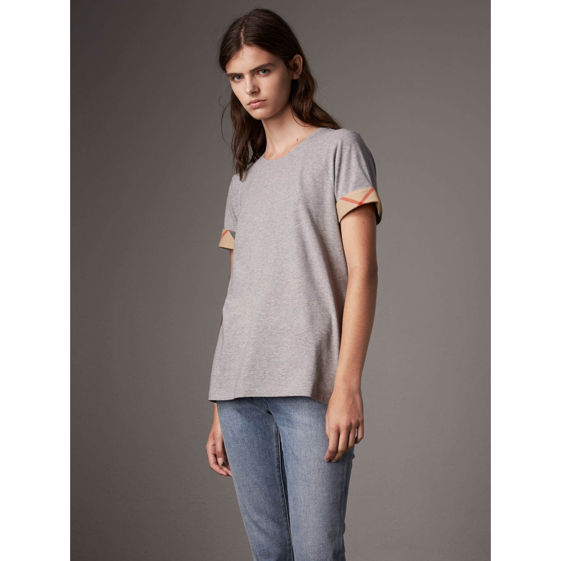 Check Cuff Stretch Cotton T-Shirt in Pale Grey Melange - Women | Burberry Canada - gallery image 1