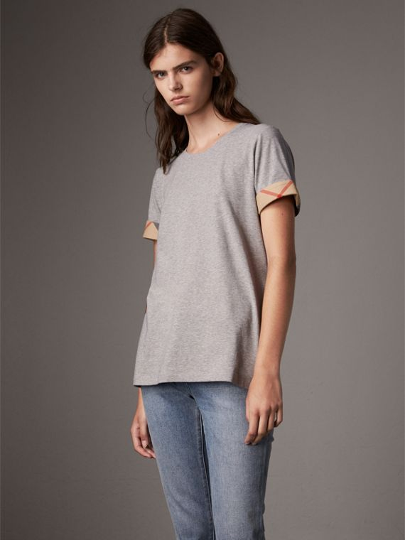Check Cuff Stretch Cotton T-Shirt in Pale Grey Melange