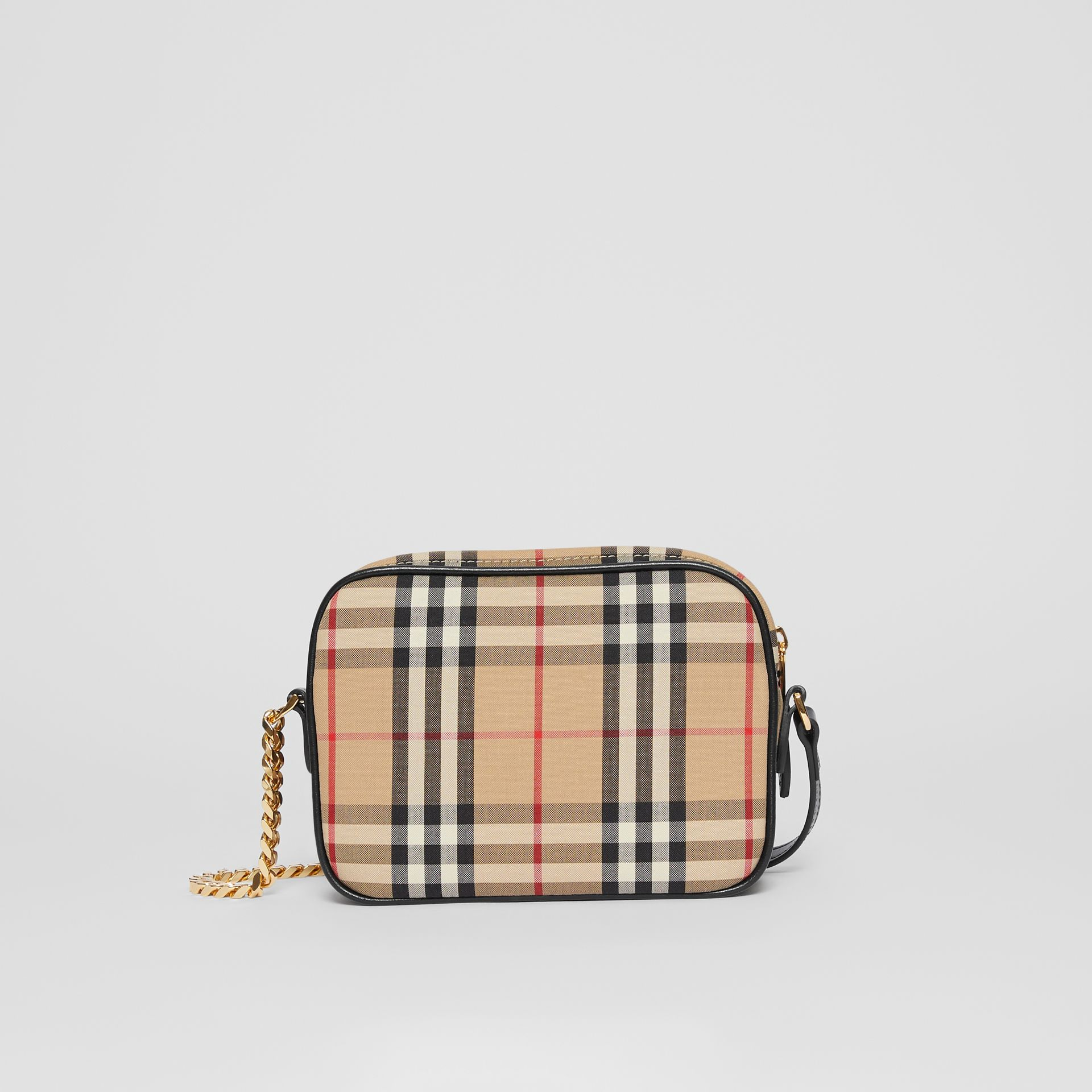 Vintage Check and Leather Camera Bag in Archive Beige | Burberry United States - gallery image 9