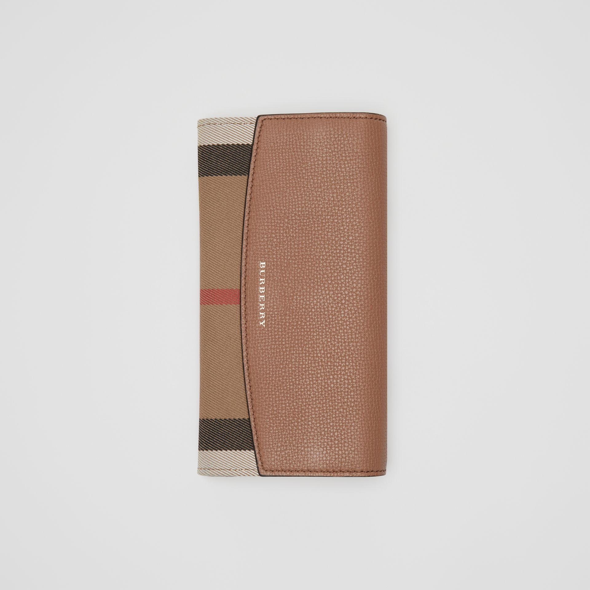 House Check And Leather Continental Wallet in Dark Sand - Women | Burberry - gallery image 5