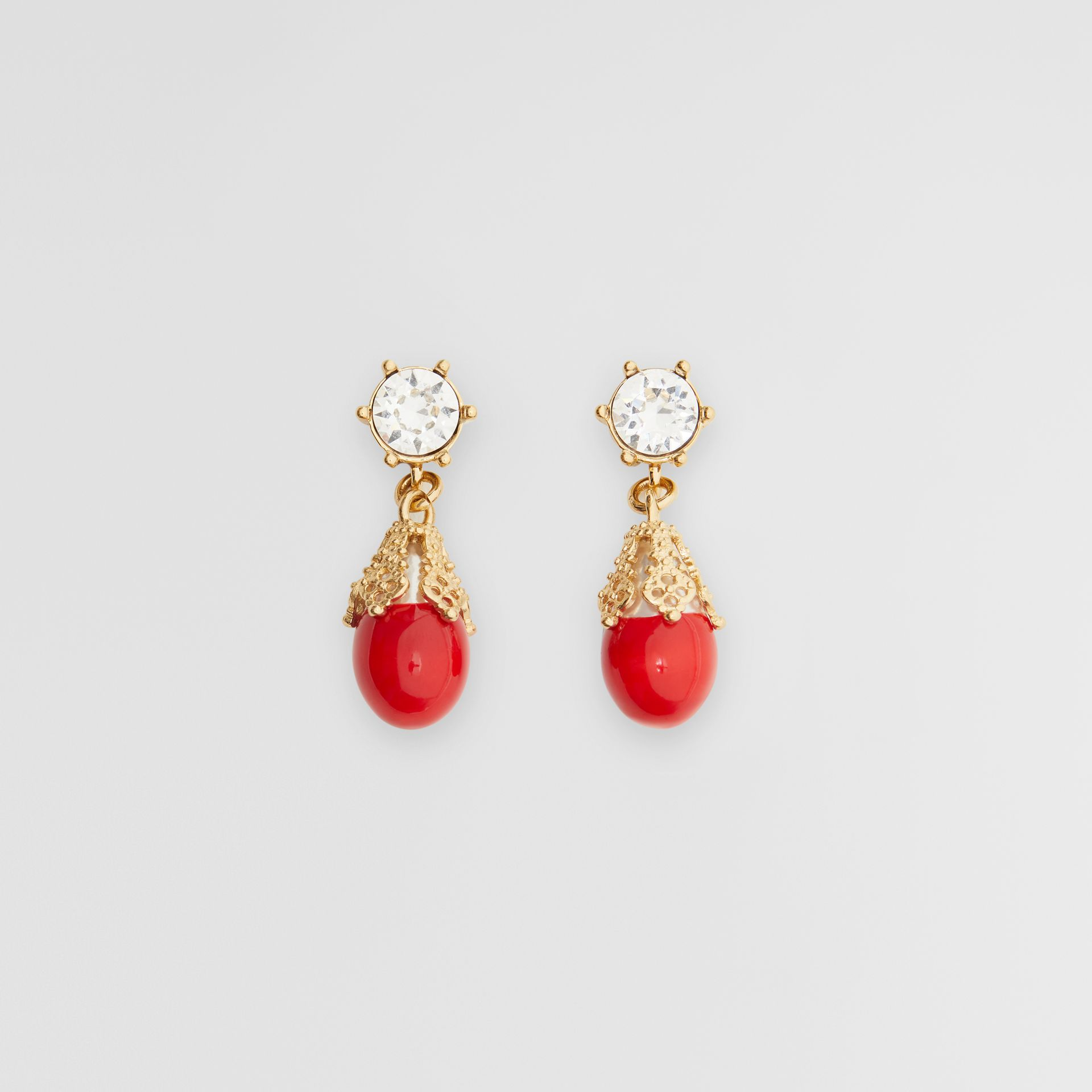 Gold-plated Faux Pearl Charm Earrings in Bright Red/light - Women | Burberry Singapore - gallery image 0
