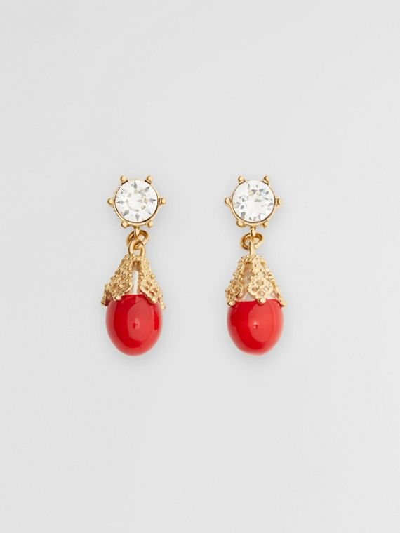 Boucles d'oreilles plaquées or avec perle de synthèse (Rouge Vif/or Clair)