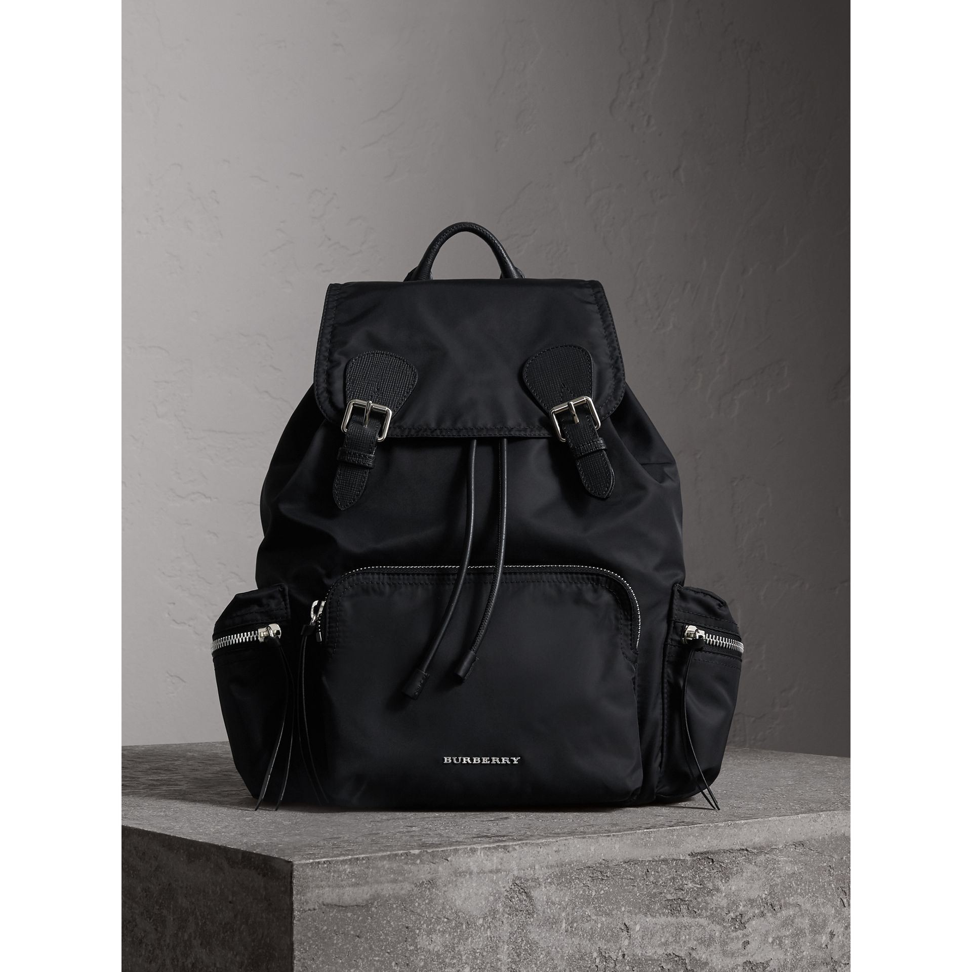 The Large Rucksack in Technical Nylon and Leather in Black/black - Women | Burberry Canada - gallery image 1