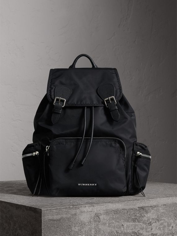 The Large Rucksack in Technical Nylon and Leather in Black/black