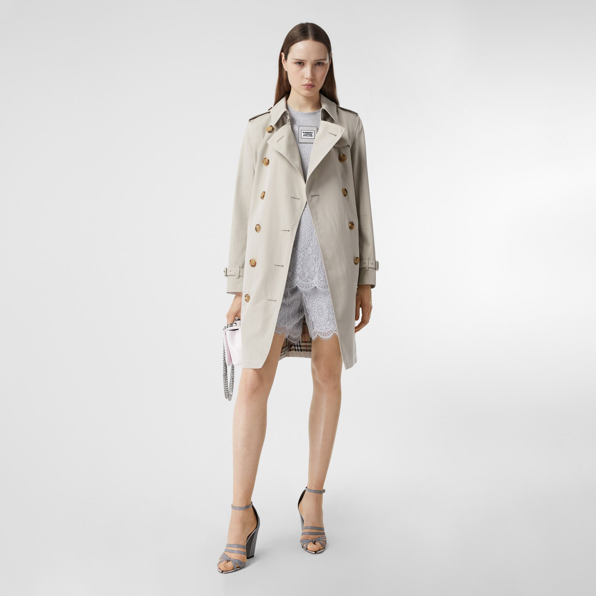 Topstitched Tropical Gabardine Trench Coat in Stone - Women | Burberry - gallery image 0