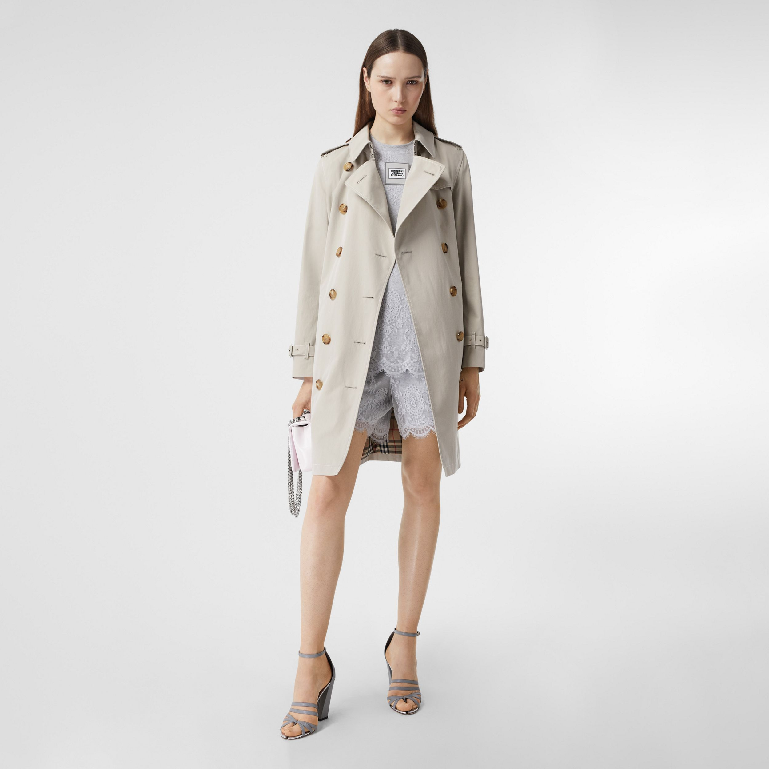 Topstitched Tropical Gabardine Trench Coat in Stone - Women | Burberry - 1