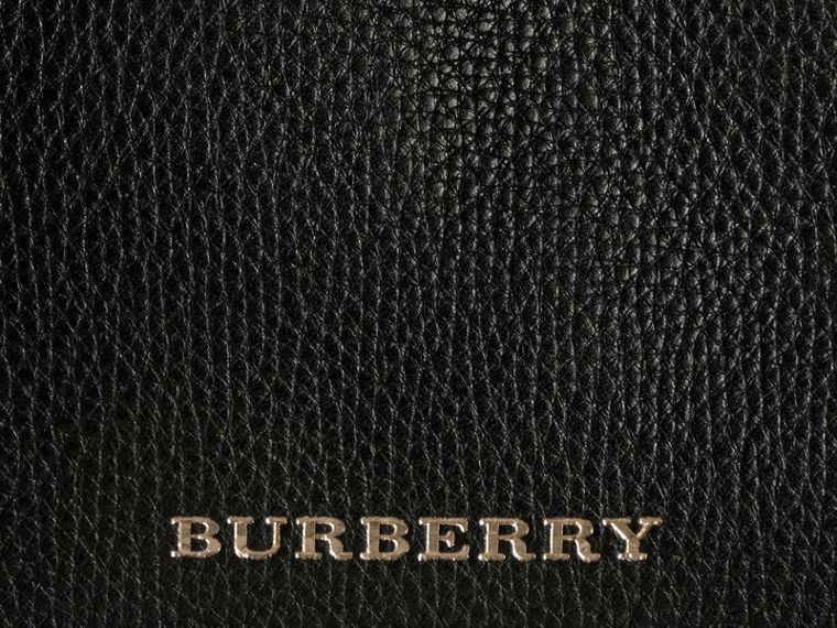 House Check and Leather Baby Changing Bag in Black | Burberry - cell image 1