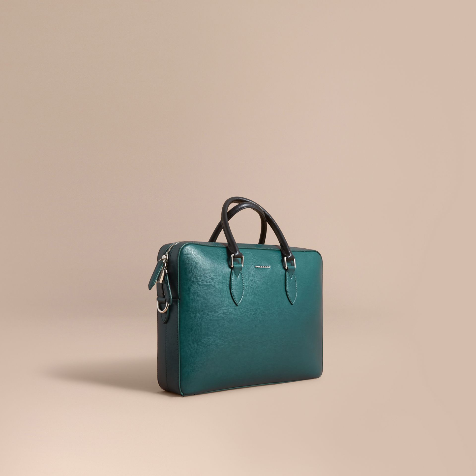 London Leather Briefcase in Dark Teal/black - Men | Burberry - gallery image 1