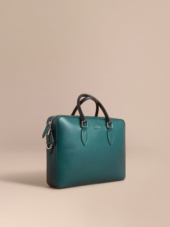 London Leather Briefcase in Dark Teal/black