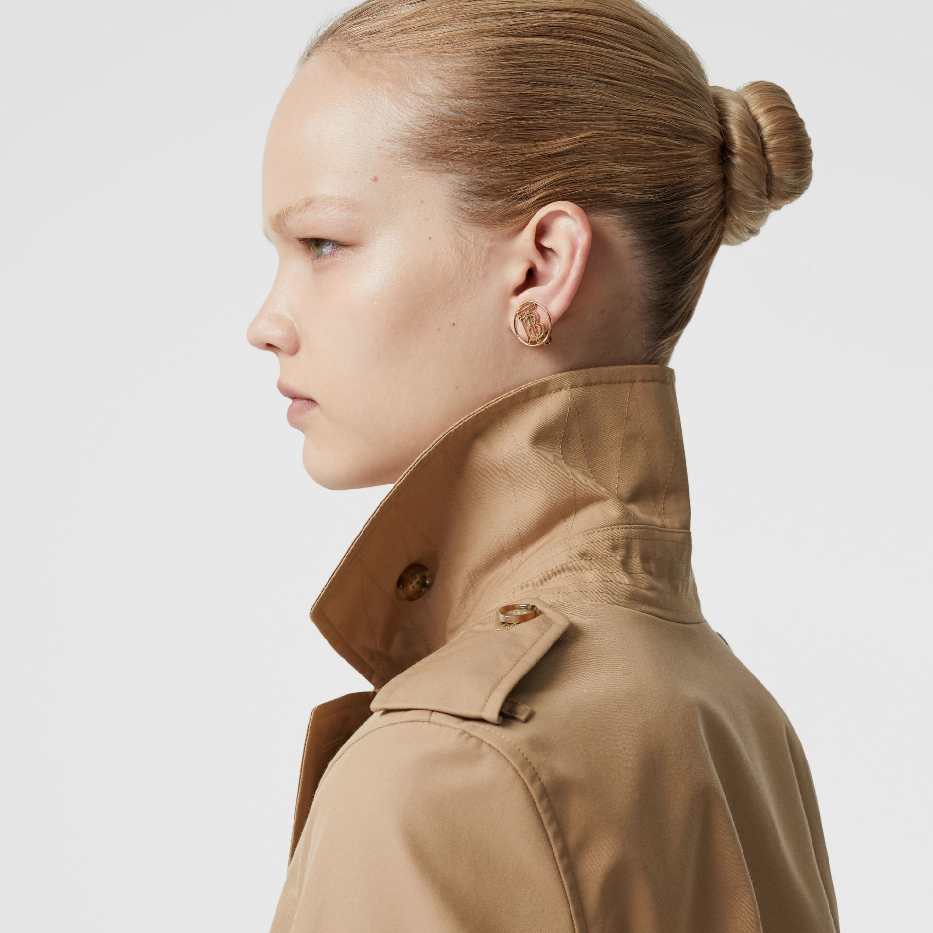 Cotton Gabardine Trench Coat in Biscuit - Women | Burberry - gallery image 1