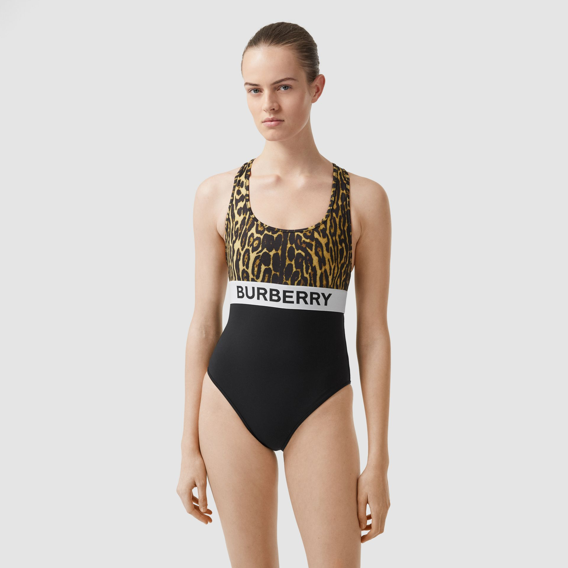 Logo and Leopard Print Swimsuit in Dark Mustard - Women | Burberry United Kingdom - gallery image 0