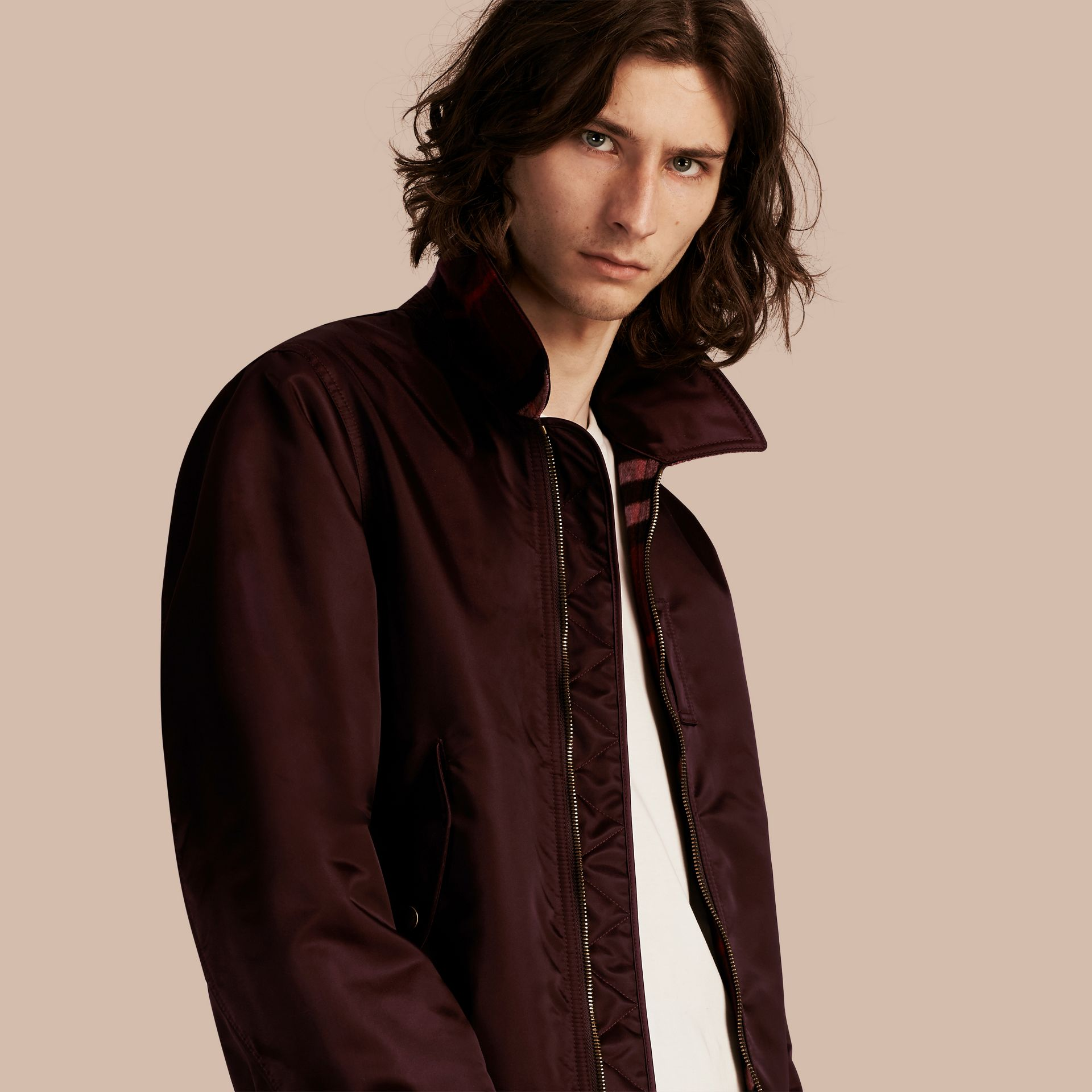 Satin Bomber Jacket with Check Undercollar in Dark Elderberry - gallery image 1