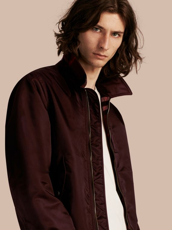 Satin Bomber Jacket with Check Undercollar Dark Elderberry