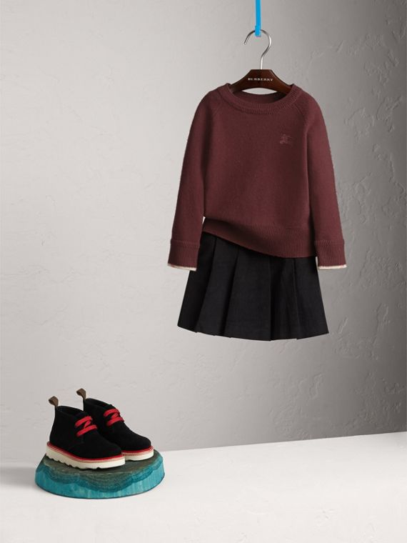 Check Cuff Cashmere Sweater in Mahogany Red | Burberry - cell image 2