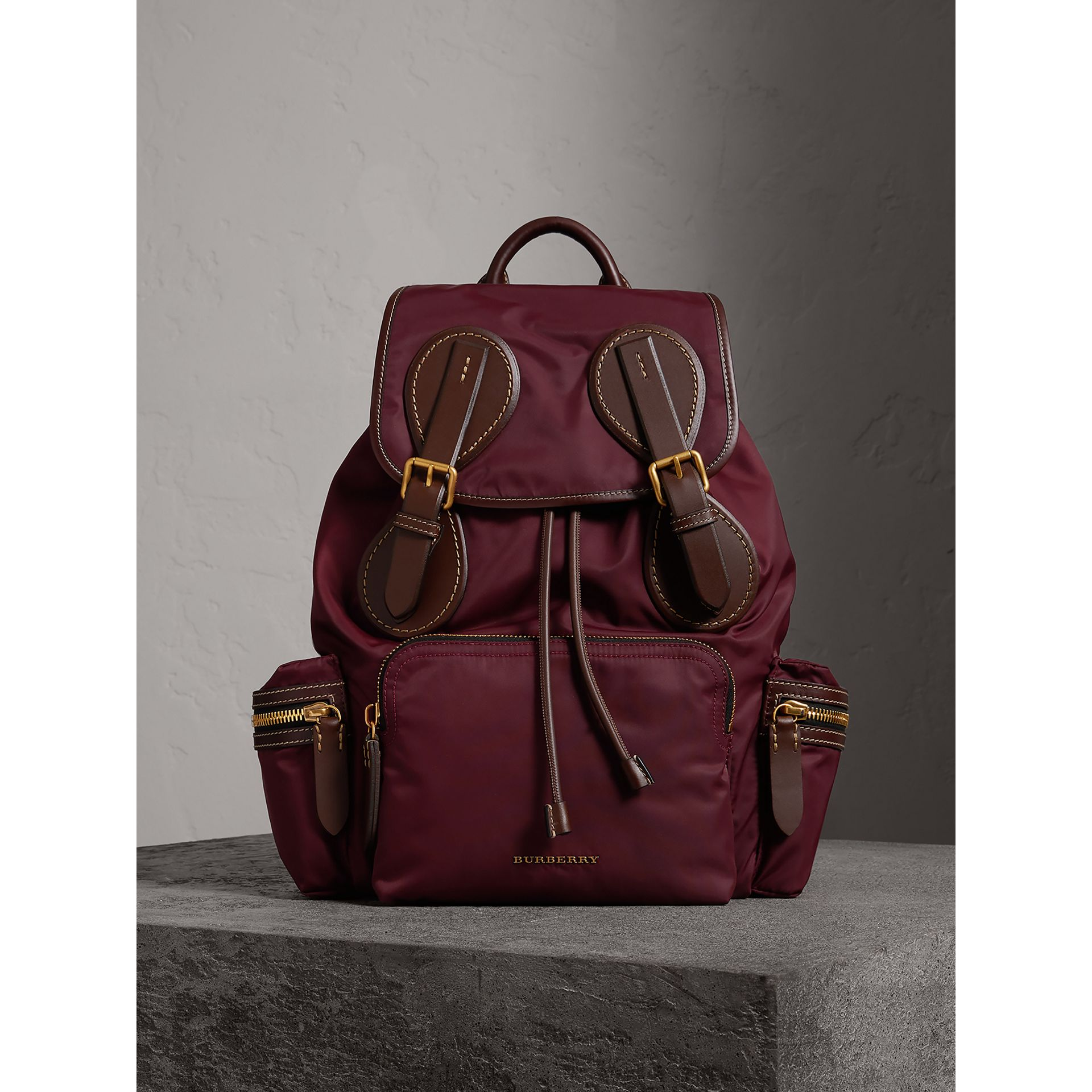The Large Rucksack in Technical Nylon and Topstitched Leather in Burgundy Red - Men | Burberry United Kingdom - gallery image 6
