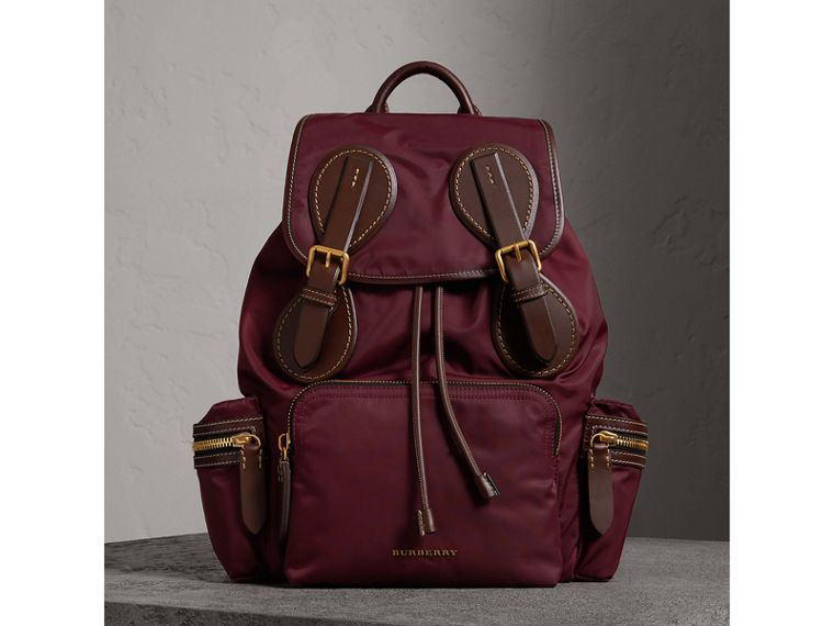 The Large Rucksack in Technical Nylon and Topstitched Leather in Burgundy Red - Men | Burberry Hong Kong - cell image 4