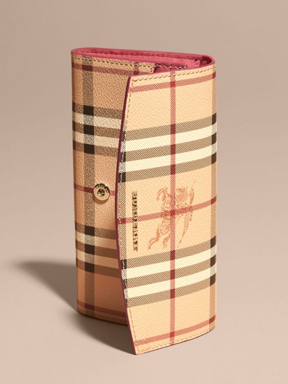 Haymarket Check and Leather Continental Wallet in Plum Pink - Women | Burberry - cell image 2