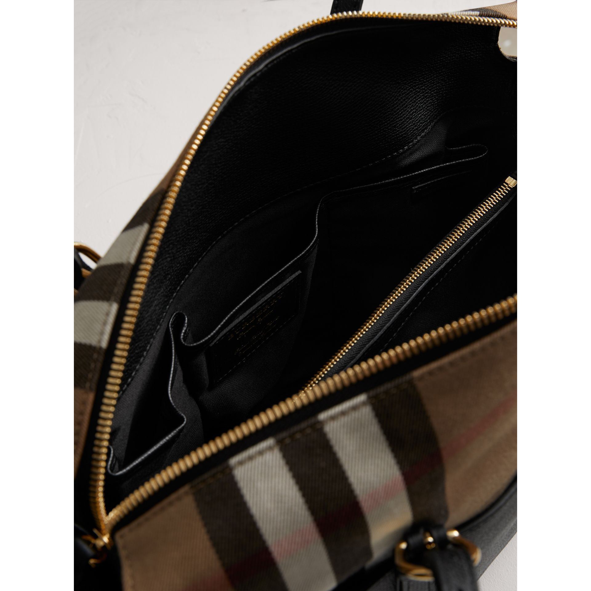 House Check and Leather Baby Changing Bag in Black | Burberry - gallery image 4
