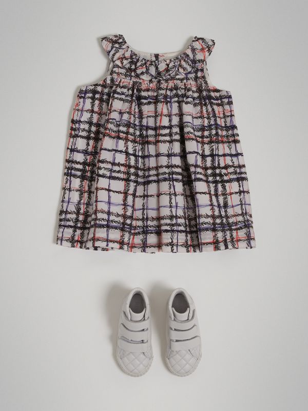 Gathered Scribble Check Print Silk Dress in Black/white - Children | Burberry Singapore - cell image 2