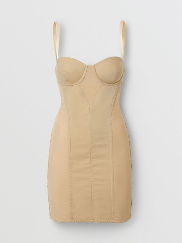Cotton Gabardine Corset Dress in Honey - Women | Burberry - cell image 3