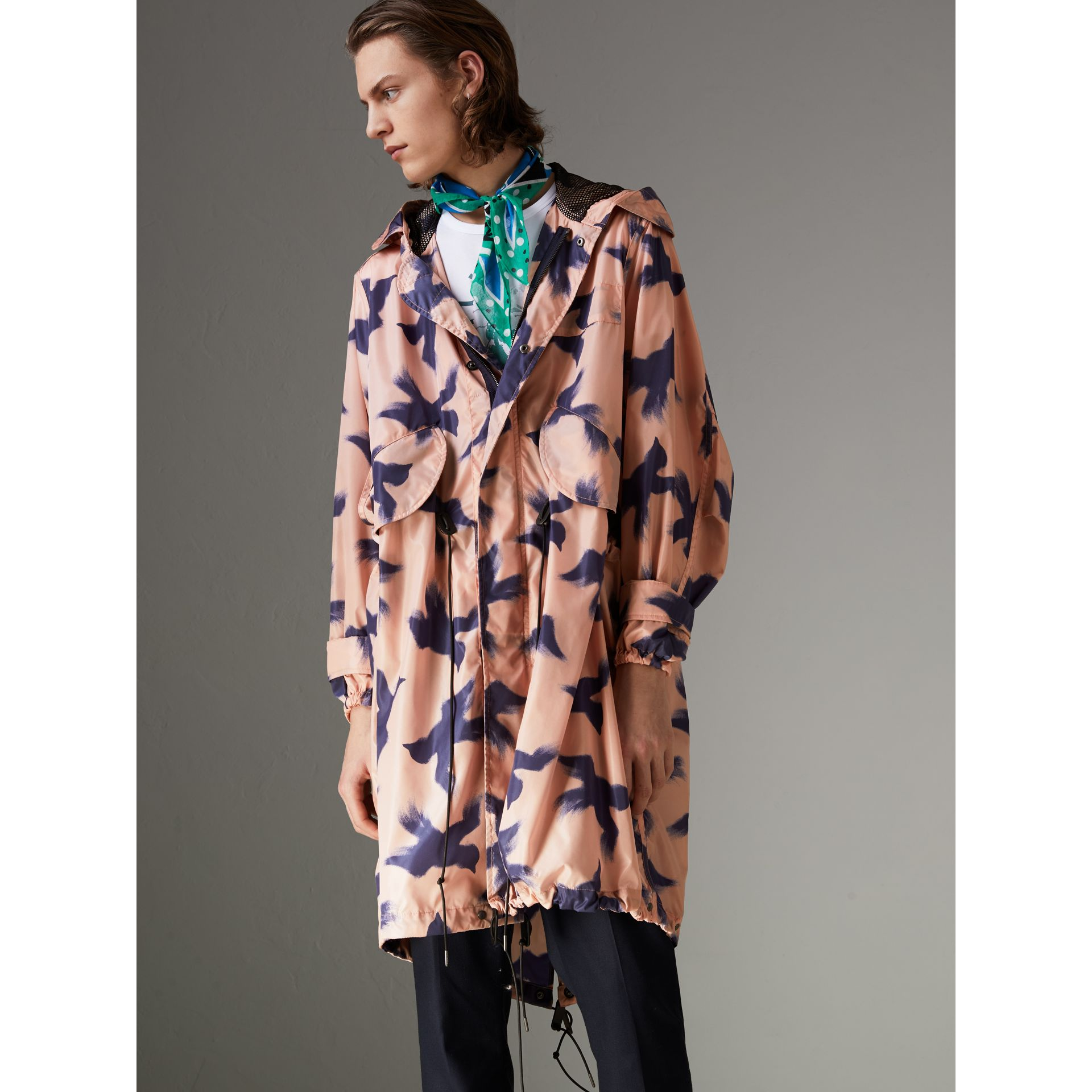 Bird Print Lightweight Parka in Apricot Pink - Men | Burberry - gallery image 4