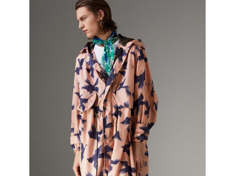Bird Print Lightweight Parka in Apricot Pink - Men | Burberry - cell image 4